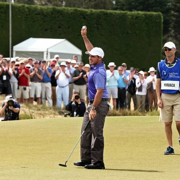 Antonio Murdaca of Australia celebrates in front of the crowd after winning the Asia-Pacific Amateur Championship at Royal Melbourne Golf Club on October 26, 2014, in Melbourne, Australia. (Photo by Brett Crockford/AAC)